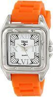 Trax Women's Casual Analog Display Posh Square Orange Rubber White Dial Watch