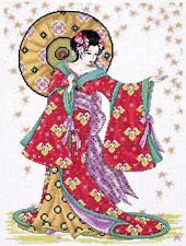 """Design Works Counted Cross Stitch Kit 12"""" x 16"""" ~ RED GEISHA #2740 Sale"""