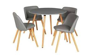 Home Quattro Round Table & 4 Chairs - Grey