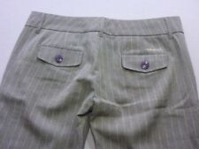 028 WOMENS NWT ELEMENT LOW BOOTCUT WENGE / FAWN PINSTRIPE PANTS SZE 10 $100 RRP.