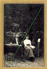 Carte Photo vintage card RPPC Couple femme homme peintre chevalet peinture al044
