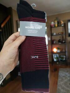 NEW Michael Kors 3 Pair Combed Cotton Dress Striped Crew Socks Men's Size 7-12