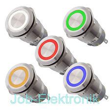 Drucktaster oder Schalter Edelstahl 19mm beleuchtet rot gelb grün blau weiß LED