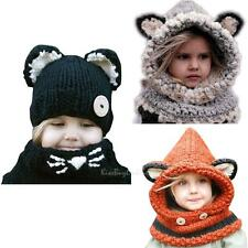 NEW Fashion Cat Fox Ear Winter Windproof Baby Hats and Scarf Set For 3-48 Months