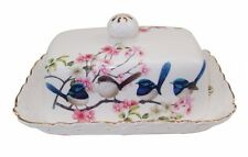 Fine  Bone China White Background Australian Bird  Blue Wren Butter Cheese Dish