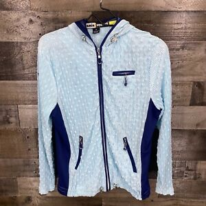 Jamie Sadock Women's Full Zip Up Hooded Jacket Size XS Navy Blue Lightweight