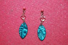 Turquoise Genuine Leather Drop Earrings-Crystal Beads-925 Sterling Silver Hooks