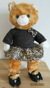 Build A Bear ginger kitty cat + clothes outfit sparkle leopard dress & shoes