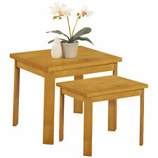 Natural Oak Finish Nest of 2 Piece Coffee End Lamp Side Table Set