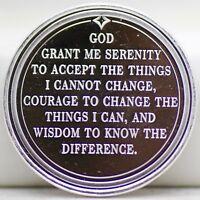 God Grant Me Serenity AA Prayer 999 Silver 1 oz Medal Round - Christian JB419