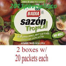 Badia Sazon Tropical with Cilantro Blend (2 Boxes) with 20 Packs each (3.52oz)