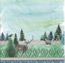 Lot de 4 Serviettes en papier Cerf Forêt Hiver Decoupage Collage Decopatch