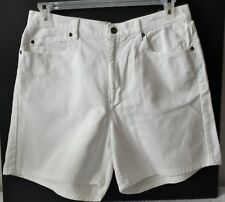LIZ CLAIBORNE Womens Size 14 White Denim Shorts High Waist Classic Fit Cotton
