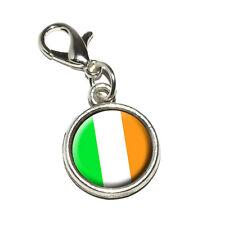Irish Ireland Flag - Antiqued Bracelet Pendant Charm with Lobster Clasp