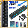 7 Port Powered USB 3.0 Hub On/Off Switches Splitter AC Adapter Cable PC Laptop