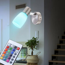 RGB LED Wandlampe Schlafzimmer Farbwechsel Fernbedienung Glasspot verstellbar