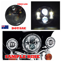 """Black 5 3/4"""" LED projector headlight cree daymaker H4 Hi/Lo beam DOT for Harley"""