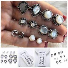 6Pairs/Set Vintage Women Natural Opal Gemstones Earrings Jewelry Ear Studs Boho