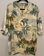 Tommy Bahama Mens L 100% Silk Havana Cuba Button Front Camp Hawaiian Shirt, MINT