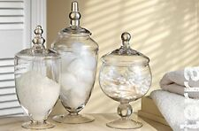 3 Set Glass Canisters Container Jar Home Bathroom Decor Crystal Storage Design