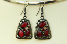 "Gunmetal & Red Faceted Lucite Trapezium Shape Dangle EARRINGS Drop 1.6"" 41mm"