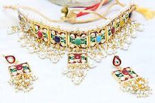 Indian Kundan Pearl Multi Choker Earring Set Bollywood Bridal Women Jewelry