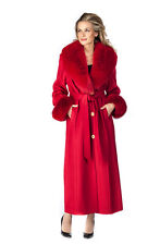 Real Fox Fur Collar Cashmere Long Coat for Women Full Length - Red