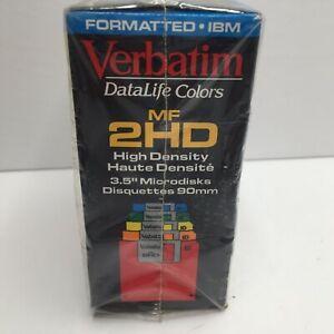 "Verbatim Formatted 3.5"" IBM Computer Microdisks Data Life Colors MF 2HD 10 Pack"