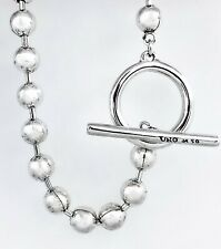New Uno De 50 Silver Tone On-Off Beaded Ball Chain Toggle Bracelet Necklace