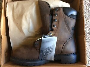 New Red Wing 2211 Steel Toe Leather Work Boots Waterproof Sz 9 1/2 D