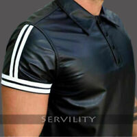 Men's Real Soft Lambskin Black Color Tight Polo Shirt Leather Short sleeves
