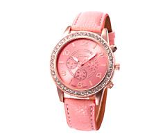 Mujeres Señoras Reloj Relojes de Pulsera a Cuarzo Analógico Rhinestone correa de cuero rosa