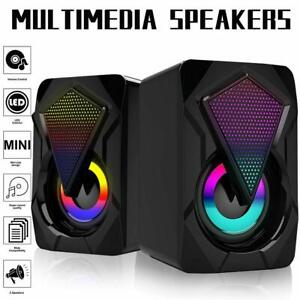 1 Pair RGB LED Mini USB Wired Computer Speakers Stereo Bass forPC Laptop Z