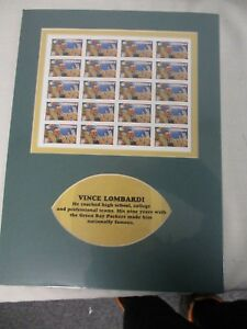 SHEET US POSTAGE STAMPS VINCE LOMBARDI FOOTBALL ~ MATTED PANE ~ SEALED MINT