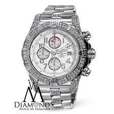 Custom Diamond Breitling Super Avenger A13370 White Dial 48.4mm Mens Watch
