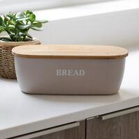 Grey Bamboo Fibre Bread Storage Bin Crock Container Box Wooden Lid Cutting Board