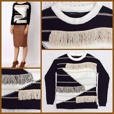 New Karen Millen Fringe Knit Neutral Jumper sz M 12 £99 AUTUMN WINTER Black COSY