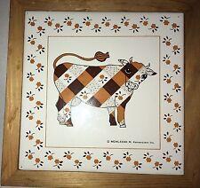 Kamenstein Ceramic Tile Trivet Plaid Cow Vintage Retro 1983 Wooden Frame Wall