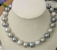 AA 8mm Round White Silver Gray South Sea Shell Pearl Beads Necklace 18""