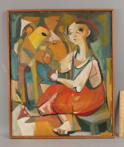 1958 Vintage Mid-Century Abstract Expressionist Portrait Oil Painting Woman Dog