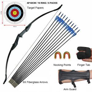 Archery Takedown Recurve Bow RH/LH & Arrows, Protective Gear, Target Paper Set