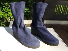 ARCHE Plateau Keilabsatz Schuhe Stiefel Soft Leder Nubuk Blau France Gr.42 Neuw