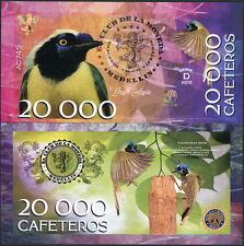 CLUB DE LA MONEDA MEDELLIN 20,000 CAFETEROS 2016 POLYMER FANTASY NOTE BIRD- NEW!