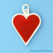 ENAMEL HEARTS HEART PLAYING CARD SUIT GAMBLING 925 Sterling Silver Charm Pendant