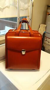 JACK GEORGES MILANO BUSINESS RED ITALIAN LEATHER TRAVEL LAP TOP WHEELER LUGGAGE