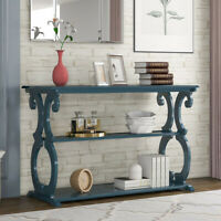 Wood Sideboard Buffet Console Table w/3-Tier Shelves Entryway Living Room Navy