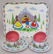 Vintage Childs Tin Tea Set Tray Plates Cups & Saucers Swiss Folk Art Print