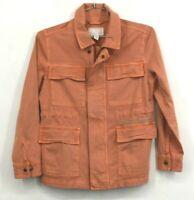 Caslon Womens Metallic Stitch Orange Utility Jacket Front Pockets Petite XS