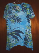 New Palm Harbour Top Navy Blue Green White Floral Sequins Long Sides Size Medium