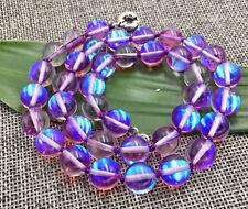 6/8/10/12mm purple Gleamy Rainbow Moonstone Round Gems Beads Necklace 18''